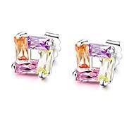 connettori colorati cristallo arcobaleno taglio delle donne di moda con orecchini in argento sterling