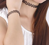 90's Tattoo Chocker Necklace Bracelet and Ring Set