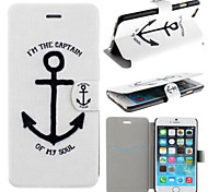 The Sailor Ships Anchor Pattern PU Leather Full Body Cover with Card Slot for iPhone 6