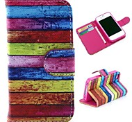 Colorized Wooden Pattern Wallet Style Flip Stand TPU+PU Leather Case for iPhone 4/4S