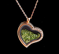 Alloy Heart Magnetic Glass Floating Green Rhinestone Living Locket Pendant