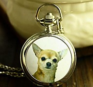 Women's Fashion Small Chihuahuas Enamel Quartz Movement Necklace Watch