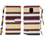 Fashion Yellow and Brown Lattice Pattern PU Leather Full Body Cover with Card Solt Cave for Samsung Galaxy Note 4