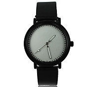 Women's Blank Face Style PU Band Quartz Wrist Watch