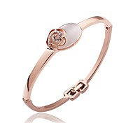 Fashion Tin Alloy 18K Gold Plated Women Rose Bangles (1 Pc)