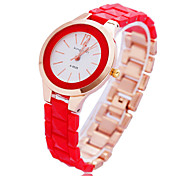 Women's Fashion Dress Round Dial Plastic and Alloy Band Quartz Analog Wrist Watch(Assorted Color)