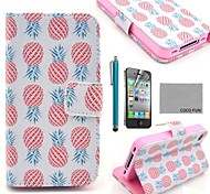 COCO FUN® Pink Pineapple PU Leather Full Body Case with Screen Protector, Stand and Stylus for iPhone 4/4S