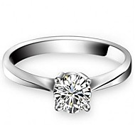I FREE SILVER®Women's Classic S990 Sterling Silver Zircon Ring 1 pc