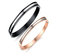 Fashion Romantic Retro Plaid Beautiful Love Couple's Stainless Steel Bangle(2 Pc)