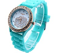 Women's Round Dial Silicone Band Quartz Wrist Watch(Assorted colors)