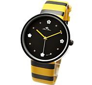 Women's Cute Bee Hand Flower Inlaid Hour Yellow-Black Stripe Band Quartz Wrist Watch