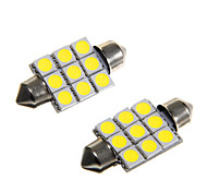 9*5050 SMD LED 36mm Car Interior Dome Festoon White Bulb Light (DC12V 2PCS)