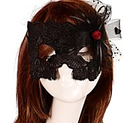 Vintage Red Rose Lace Bar Mask