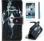 обезьяна картина курить Кожа PU полного покрытия тела с защитной пленкой и стилусом для iPhone 6 Plus