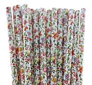 Beautiful Flower Paper Drinking Straws (25 PCS)