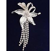 Fashion Tassel Imitation Diamond Flower Gold Plated Brooch for Women In Jewelry