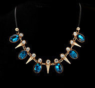 Necklace Statement Necklaces Jewelry Party / Daily / Casual Fashion Leather / Rhinestone Blue 1pc Gift