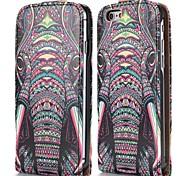 frais motif tribal d'éléphant de style magnétique vertical étui en cuir flip pour iphone 6