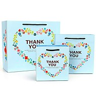 Coway 3pcs Delicate Blue Love Letters THANK YOU Party Paper Gift Bag Set