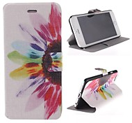 Flower Color Pattern PU Leather Cover with Stand for iPhone 6