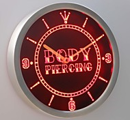nc0311 Body Piercing Tattoo Shop Neon Sign LED Wall Clock