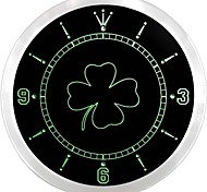 FOUR LEAF CLOVER Home Decor Neon Sign LED Wall Clock