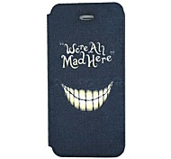 """""""We're All Mad Here"""" Words And Grin Pattern PU Leather Full Body Case for iPhone 5/5S"""