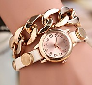 Coway Fashion Golden Chain Women's Round Dial  Leather  Band Quartz Analog  Braceiet Watch(Assorted Color) Cool Watches Unique Watches