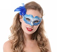 Elegant Side Feather Gradient Color Half Face Mask