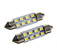 8*3528 SMD LED 42mm Car Interior Dome Festoon White Bulb Light (DC12V 2PCS)