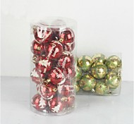 24 pcs Christmas Decorations Hanging Drop Electroplating Balls (Φ=7cm)