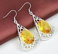 Wholesale Citrine Gemstone Silver Classis Daily Drop Earrings 2pair