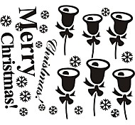 zooyoo® bonito pvc estilo natal preta removível colorida de adesivos de parede adesivos de parede de venda quente para a decoração da casa
