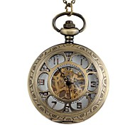 Vintage Large Circular Hollow Flower-Shaped Pattern Metal Clamshell Mechanical Pocket Watch Necklace Watch (1Pc)