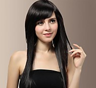 Long Straight Fix Face Natural Black Side Bangs Hair Wig