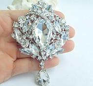 lega dell'annata delle donne di cristallo chiaro strass goccia d'acqua nozze gioielli da sposa spilla bouquet