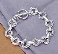 New Simple Women's Double-deck Torsional Wave Copper Silver Plated Chain & Link Bracelet(Silver)(1Pc)