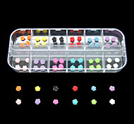 60PCS 12 Colours Flowers Resin Nail Art Decoration
