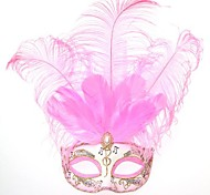 Fall in Music Pink Feather PS Half Face Masquerade Mask