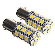1157 6W 27x5050 SMD Warm White Light Bulb for Car Brake Lamp (DC12V 2pcs)