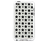 Black Five Pointed Star Leather Vein Pattern PC Hard Case for iPod touch 4