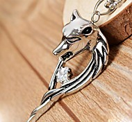 Classic Domineering Wolf Head Silver Titanium Steel CZ Diamond Inlaid Pendant Necklace