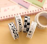 Black And White Decorative Scrapbooking Adhesives Tape(10m Random Color 1 PCS)