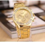 Women's  Fashion Double Rhinestones Steel Belt Watch