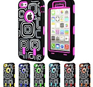 3-in-1 Design Check Pattern Hard Case with Silicone Inside Cover for iPhone5C (Assorted Colors)