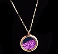 aleación redonda de cristal magnética púrpura rhinestone colgante medallón de estar flotando