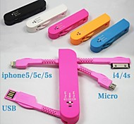 Saber Style Portable 3-in-1 Micro USB/8-pin/30-pin USB Charge Sync Cable