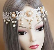 Fashion Bride White Pearl Lace Headband for Women(1Pcs)