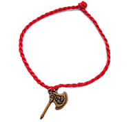 "China Red Classic Red Rope Bracelet Axe Pendant with Chinese Characters ""Happiness"""