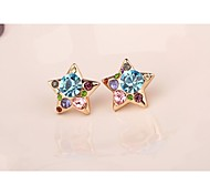 Fashion Korea Big Star Imitation Diamond Alloy Stud Earrings for Women in Jewelry